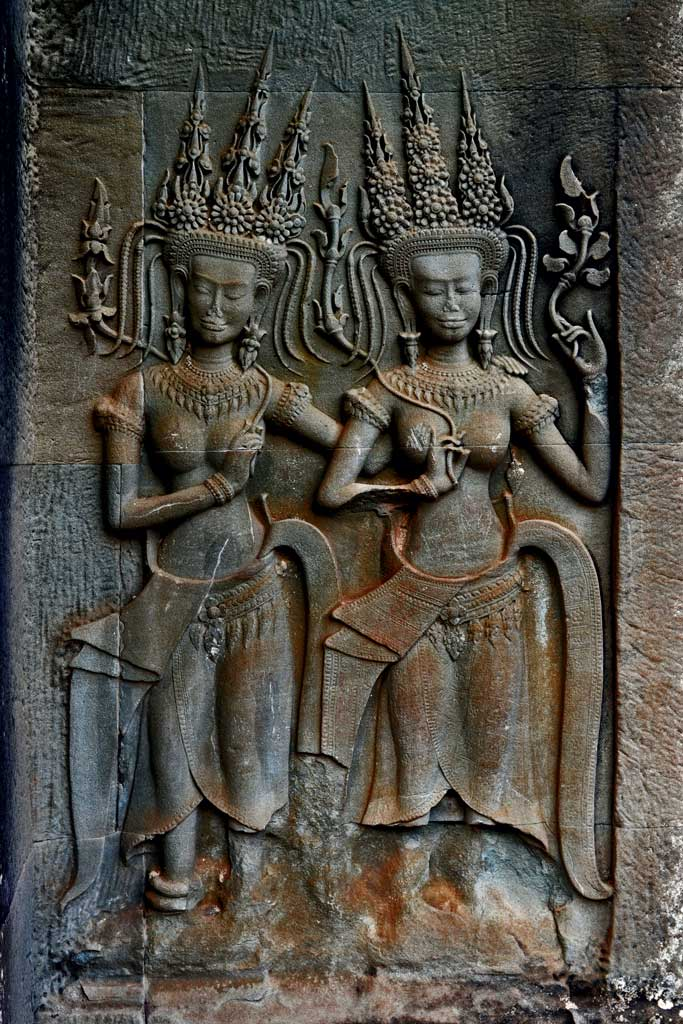 Angkor wat siem reap cambodia stone carvings on the walls of