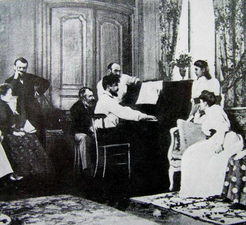 Amura,Región del vino,Ruta del vino,Francia,Claude Debussy, Claude Debussy entertaining guests at the piano, 1893.
